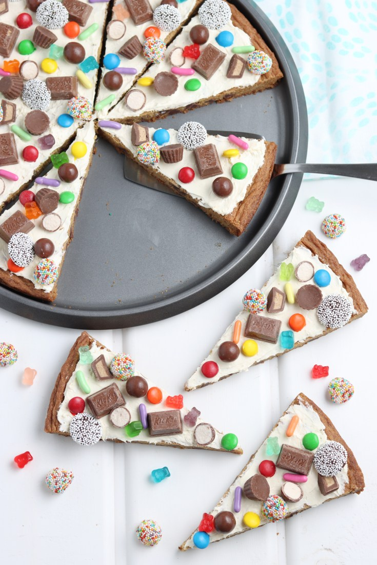 overhead shot of easy cookie pizza recipe