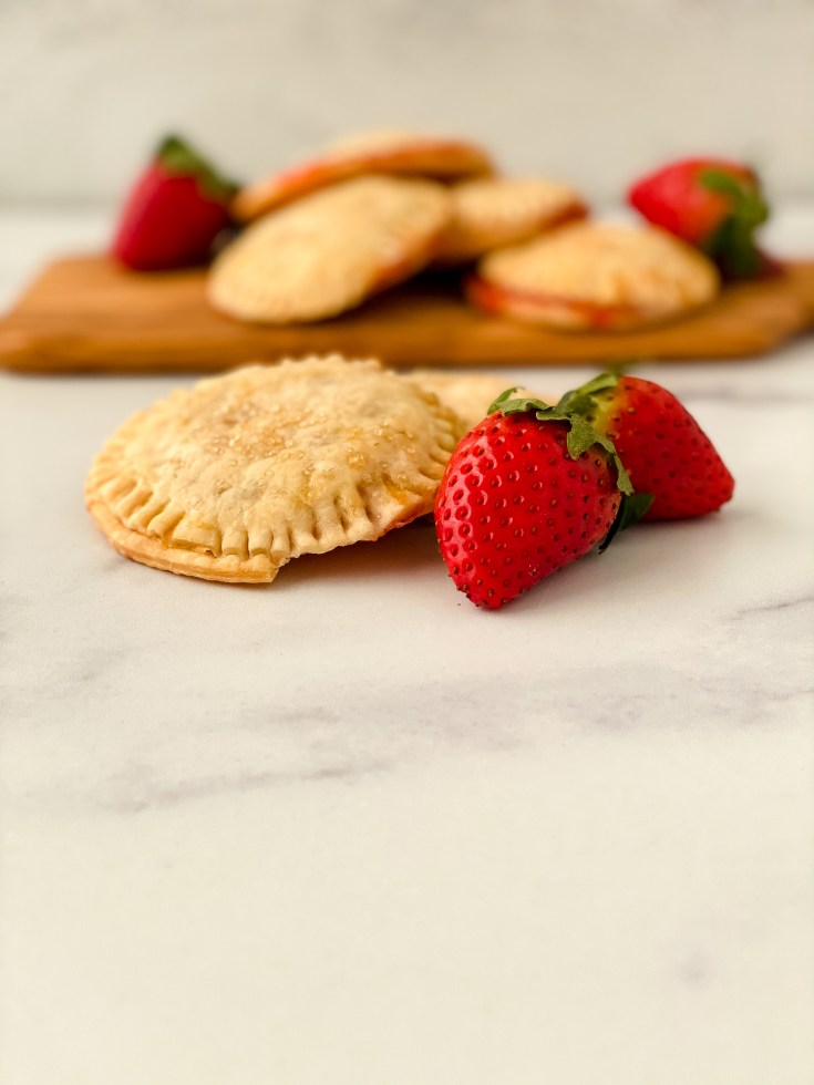 close up of strawberry hand pies
