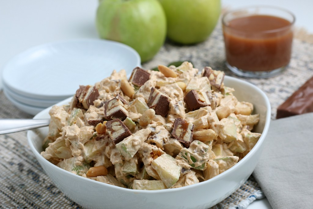 white bowl of snickers apple salad