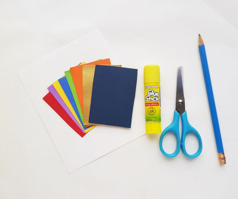 craft supplies needed to make a pot of gold and rainbow papercraft