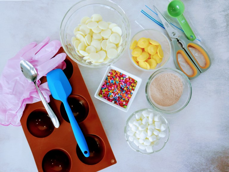 ingredients for confetti hot chocolate bomb