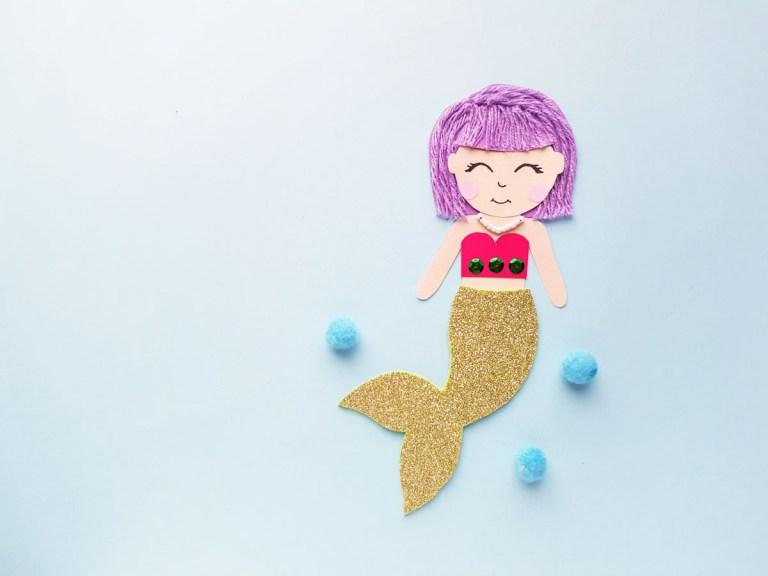 Mermaid papercraft mixed media art