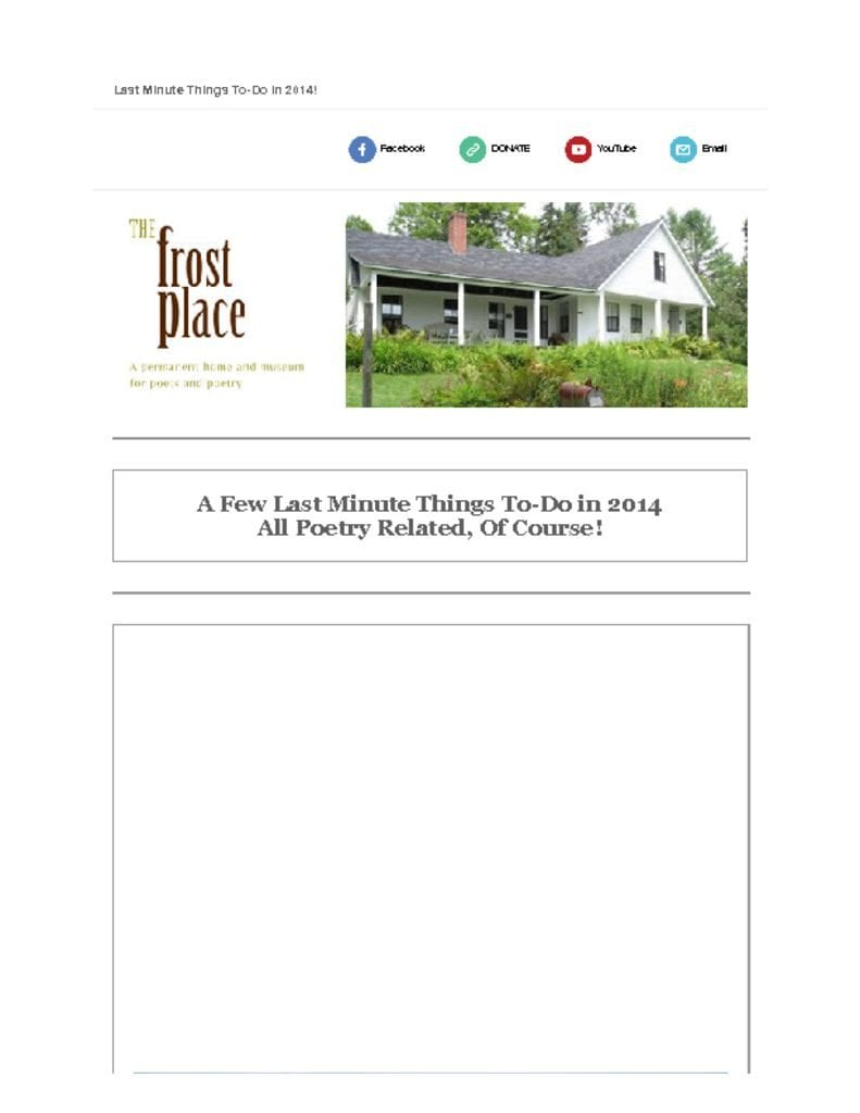 The Frost Place Newsletter End of Year Giving
