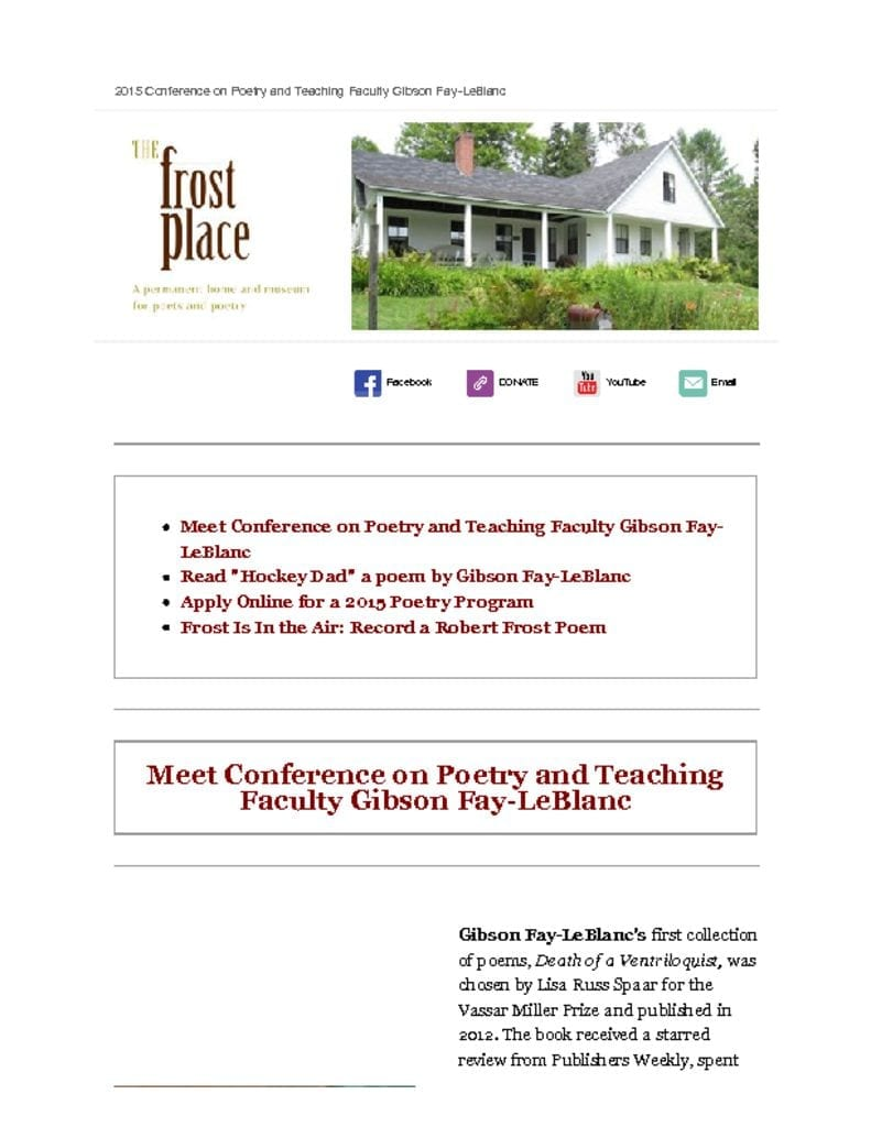 The Frost Place Newsletter Gibson Fay LeBlanc