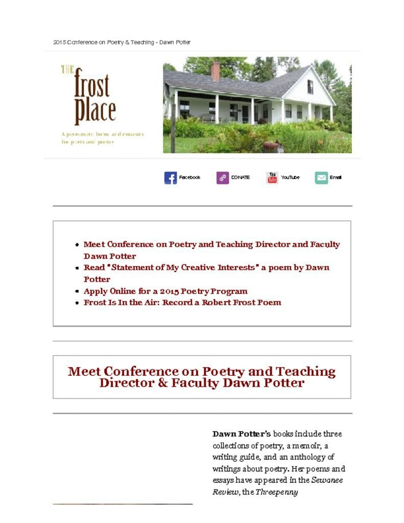 The Frost Place newsletter Dawn Potter