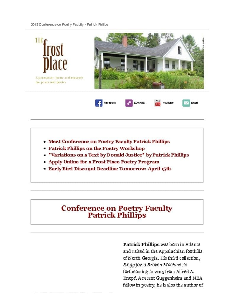 The Frost Place Newsletter Patrick Phillips