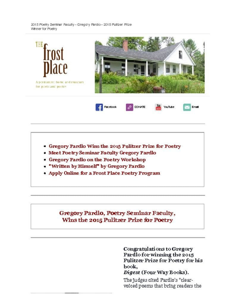 The Frost Place Newsletter Poetry Writing Conference Pulitzer Prize Winning Faculty Gregory Pardlo