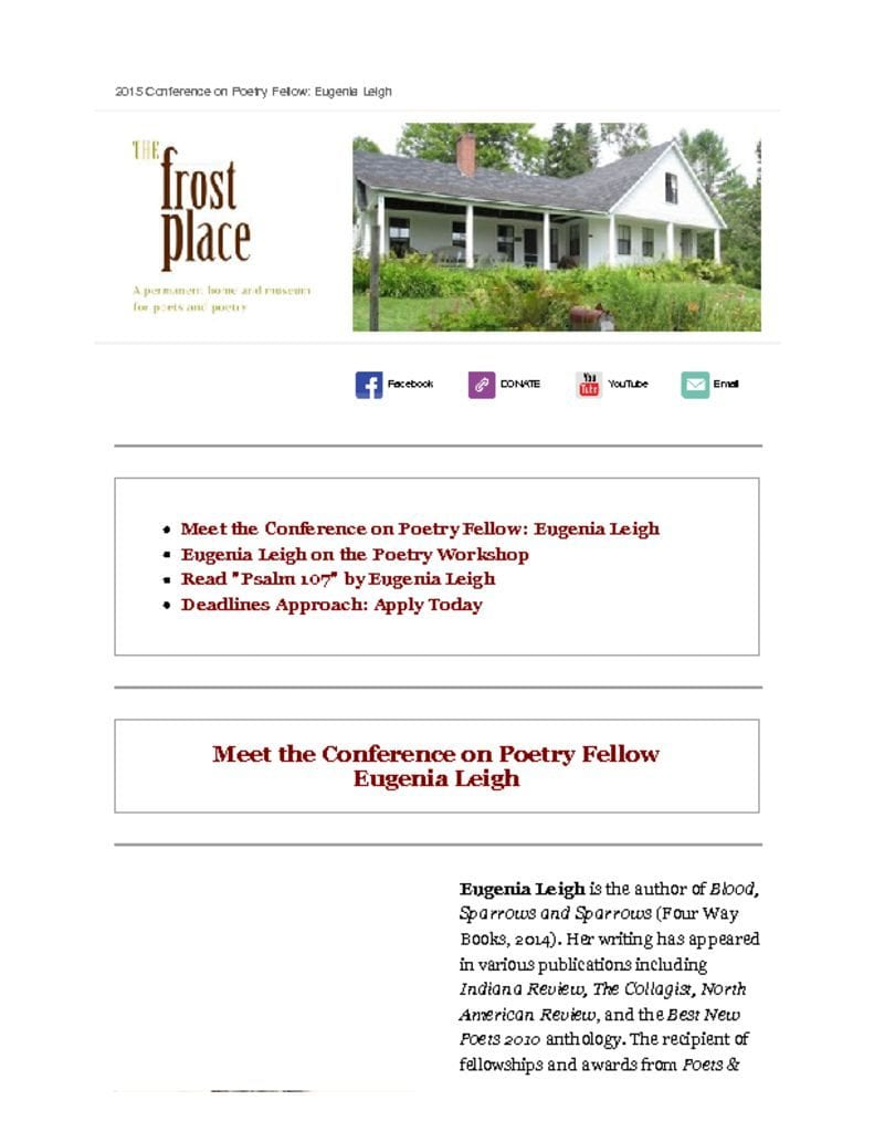 The Frost Place Conference on Poetry Fellows