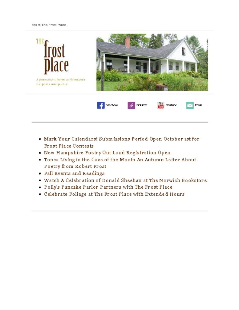The Frost Place Newsletter