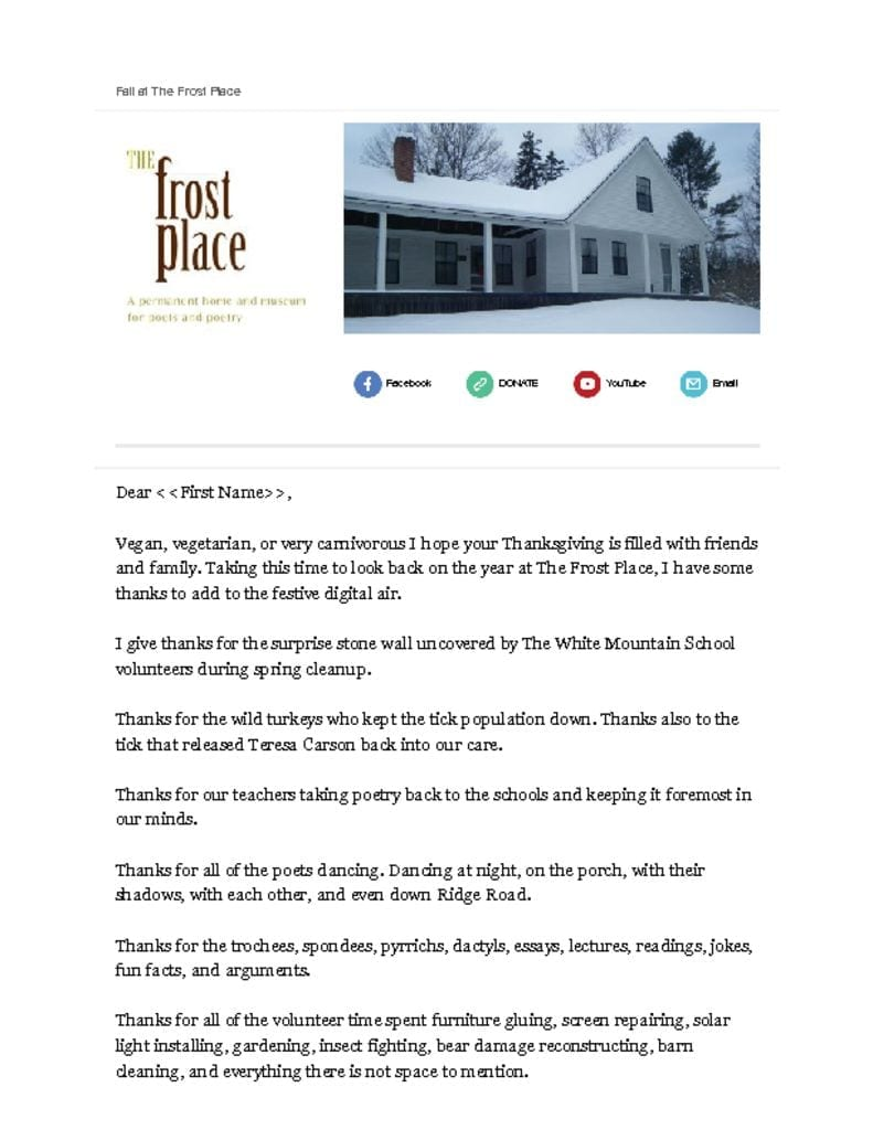 The Frost Place Newsletter Thanksgiving 2015