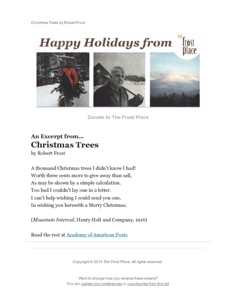 The Frost Place Newsletter Happy Holiday Message