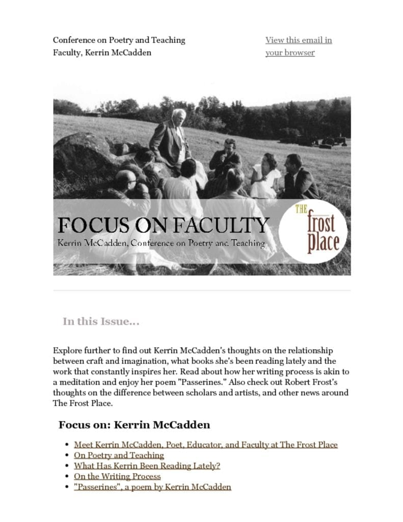 The Frost Place Newsletter Kerrin McCadden