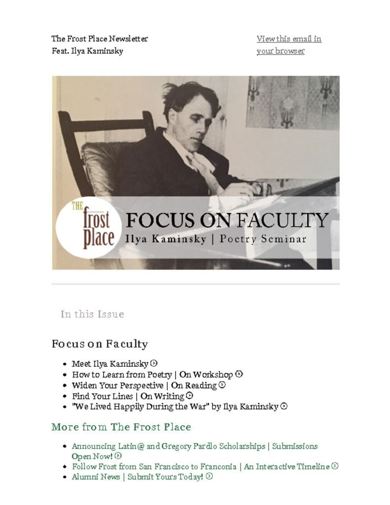 Meet Ilya Kaminsky, Faculty at The Frost Place