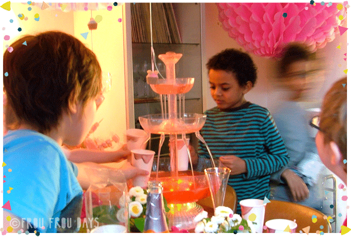 children's party with drinks fountain