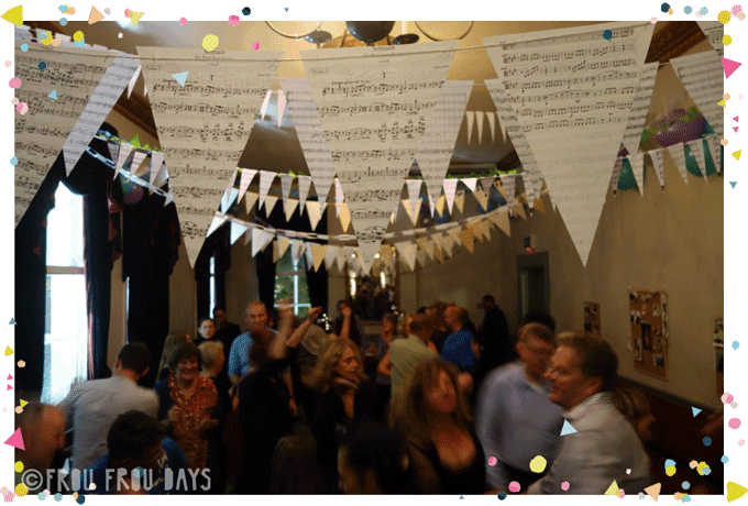 vintage musical bunting with people dancing party