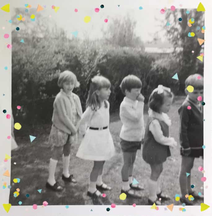 line of children queuing for party game in back garden. Includes Clare Burgess