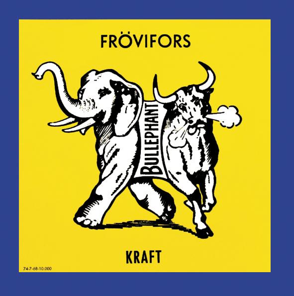 Krafftpappret Bullefant som tillverkades i Frövifors märktes med denna symbol. Bullefanten syns idag i Frövifors Pappersbruksmuseums logotype.