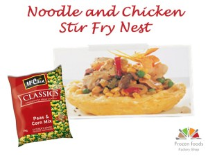 noodle and chicken stirfry nest