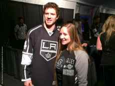 Center Colin Fraser (left) with fan Bethalyn Staples