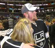 Left wing Tanner Pearson with family