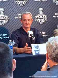 Los Angeles Kings head coach Darryl Sutter, shown here speaking to the media during the 2014 Stanley Cup Final Media Day at Staples Center in Los Angeles, June 3, 2014.