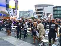 Fans celebrating LA Kings winning Game 3, 3-0, taking a 3-0 lead in the series.