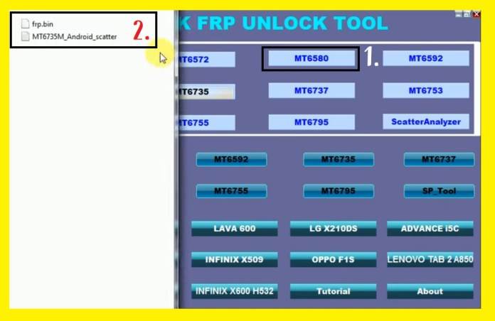 Click on MTK CHip set to MTK FRP Remove Tool