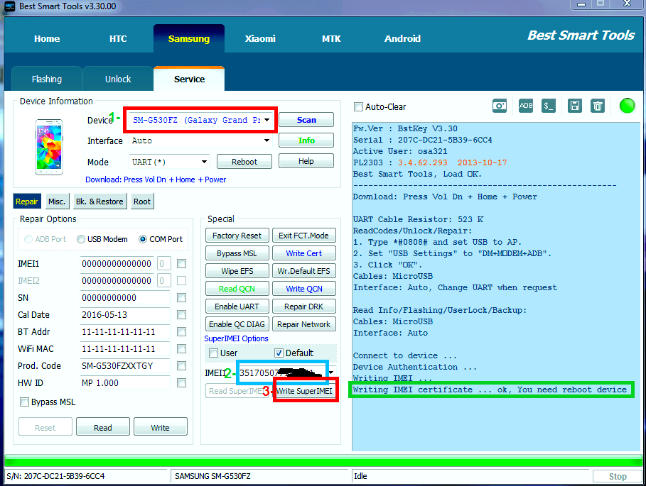 how to repair imei SM-G530FZ by file modem tar - frp done