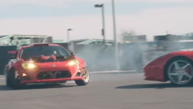 Ferrari Swapped FR-S Drifts Circles Around 458 Italia