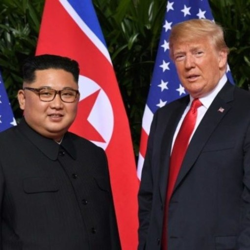 Chairman Kim Jong Un of the socialist Democratic Peoples Republic of Korea (DPRK) with Donald Trump.