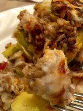 gluten free veggie and rice stuffed zucchini