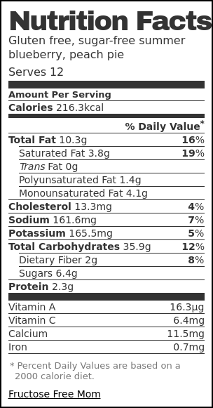 Nutrition label for Gluten free, sugar-free summer blueberry, peach pie