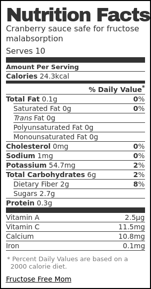 Nutrition label for Cranberry sauce safe for fructose malabsorption