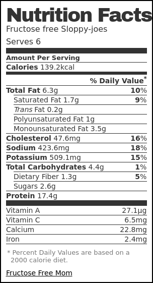 Nutrition label for Fructose free Sloppy-joes
