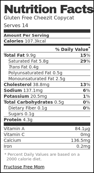 Nutrition label for Gluten Free Cheezit Copycat