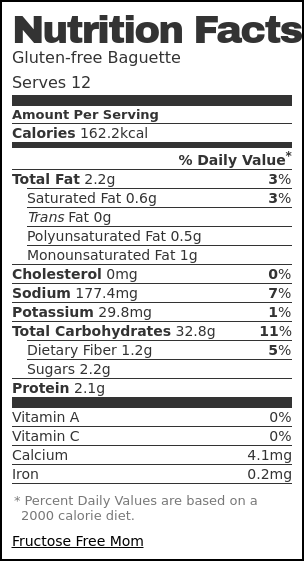 Nutrition label for Gluten-free Baguette
