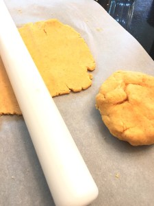 Rolled out gluten free cheese cracker dough