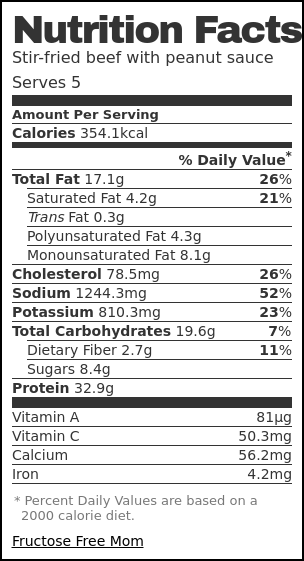 Nutrition label for Stir-fried beef with peanut sauce