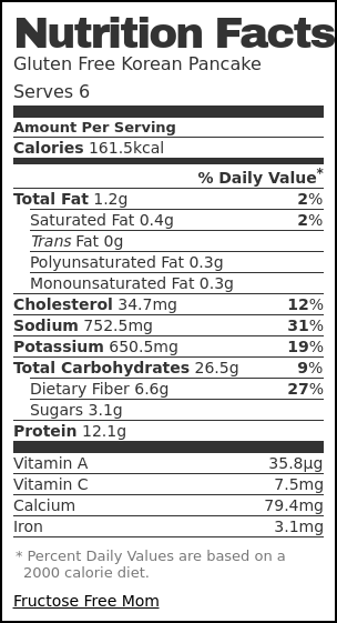 Nutrition label for Gluten Free Mung Bean Korean Pancake