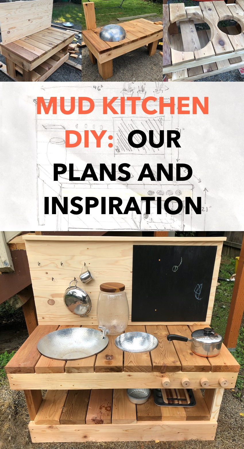 Mud Kitchen DIY: Our Plans Inspiration - wooden mud kitchen with sinks, shelf, chalkboard, water, pots and pans outside in a backyard