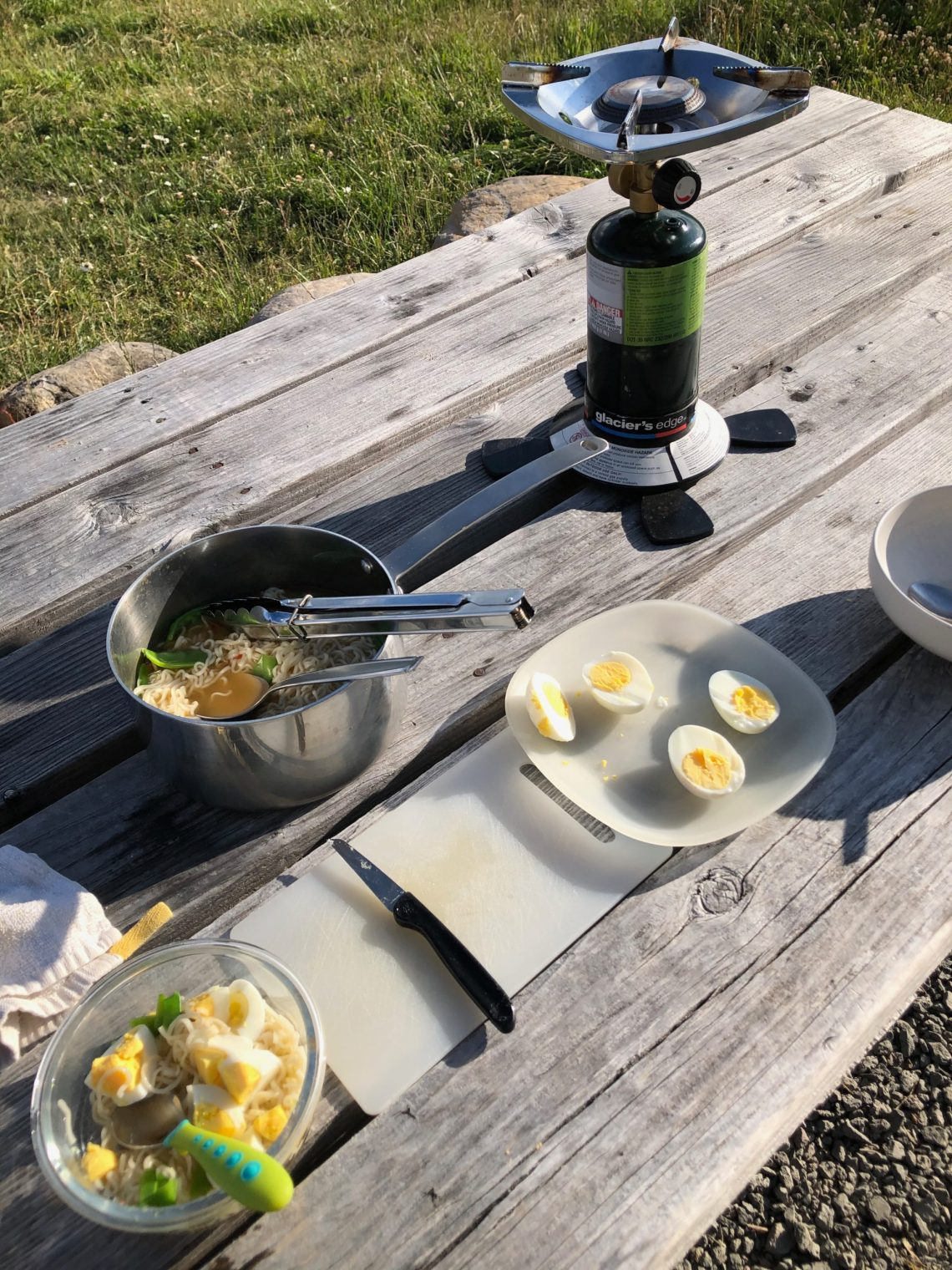 Camping dinner of ramen with hard boiled eggs