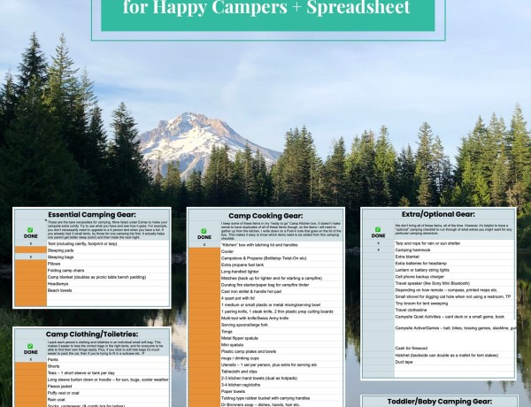 Camping Checklist: Essentials and Extras for Happy Campers + Spreadsheet