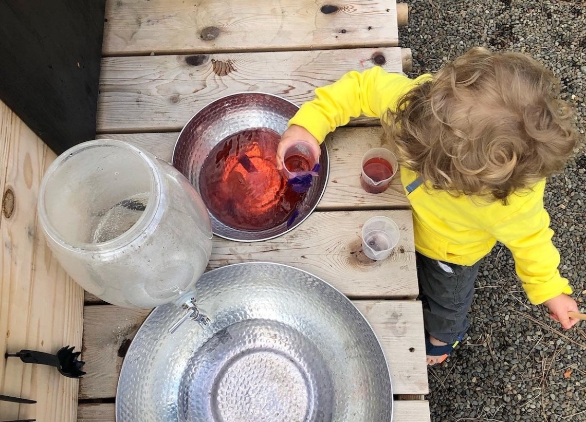 mud kitchen water play food coloring and water dispensers