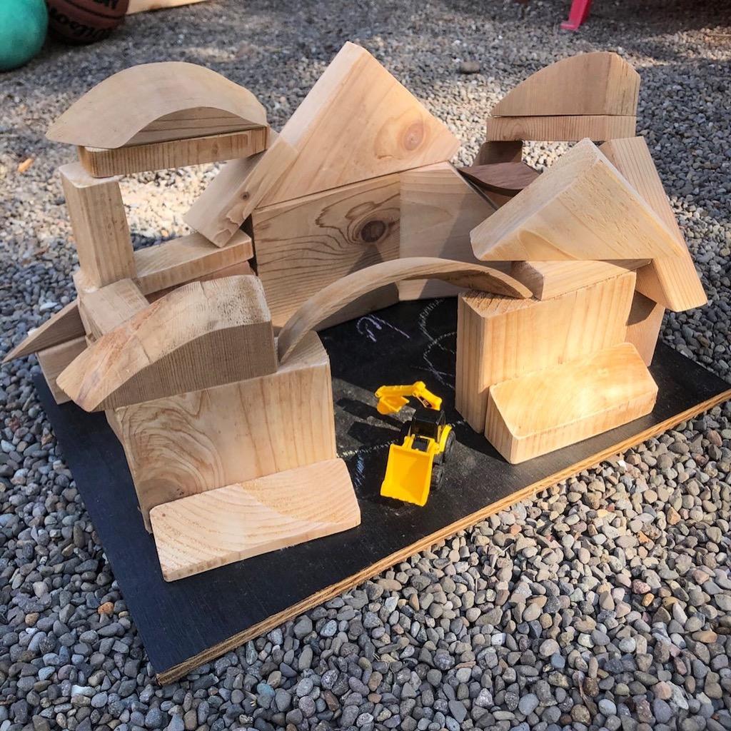 outdoor building blocks for kids house shape
