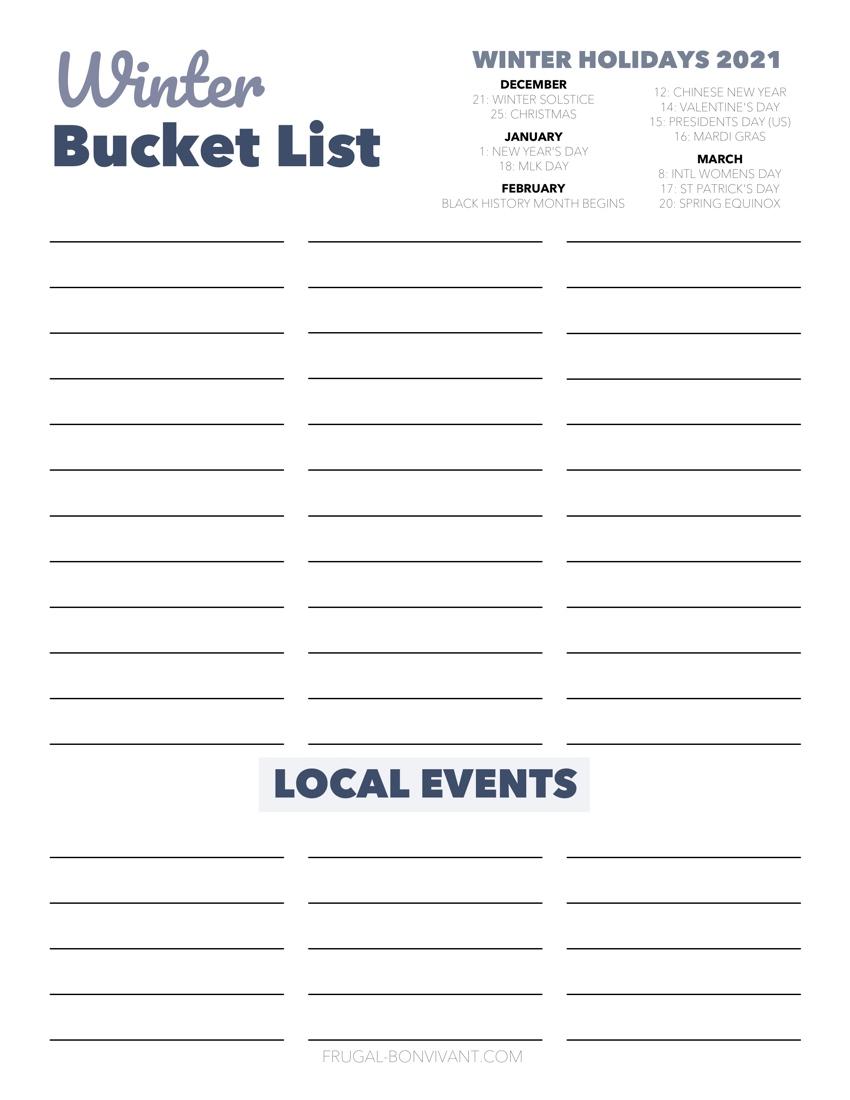 winter bucket list printable