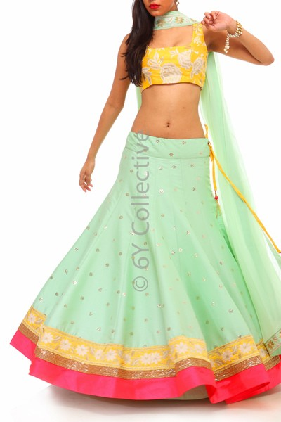 This mint Lehenga is my current favorite from the collection