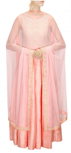 Nude peach pearl and mirror work anarkali
