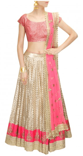 Off white gota patti embroidered lehenga
