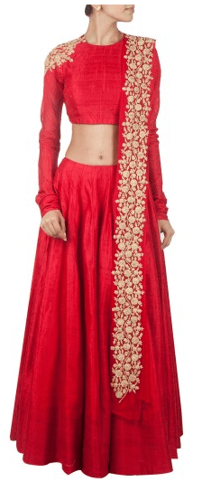 Red embroidered lehenga