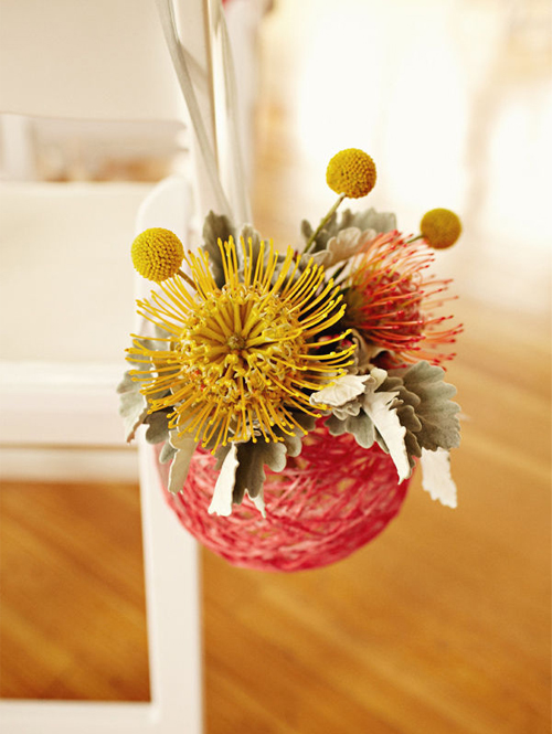 Yarn Orb Wedding Decor